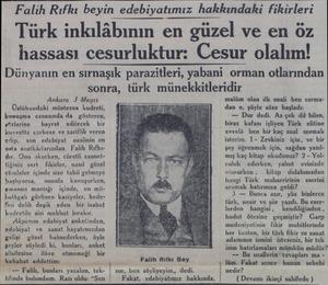 Falih Rıfkı beyin edebiyatımız hakkındaki fikirleri -Türk inkılâbının en güzel ve en öz hassası cesurluktur: Cesur olalım!