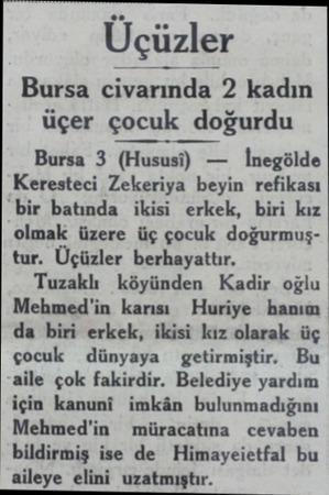 Üçüzler Bursa civarında 2 kadın üçer çocuk dogurdu Bursa 3 (Hususı) — İnegölde Keresteci Zekeriya beyin refikası bir batında