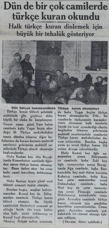 :Dün de bir çok camilerde türkçe kuran okundu -Halk türkçe kuran dinlemek için büyük bir tehalük gösteriyor 'Dün Selçuk...