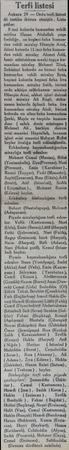 Terfi listesi Ankara 29 — Ordu terfi listesi âli tastike iktiran etmiştir. Liste şuldur: 8 inci kolordu kumandan vekili...
