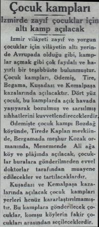 Çocuk kampları Izmirde zayıf çocuklar için altı kamp açılacak izmir vilâyeti zayıf ve yorgun çocuklar için vilâyetin altı...
