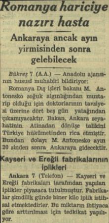 Romanya hariciye - nazırı hasta Ankaraya ancak ayın yirmisinden sonra gelebilecek Bükreş 'T (AA.) — Anadolu ajansının husüsi