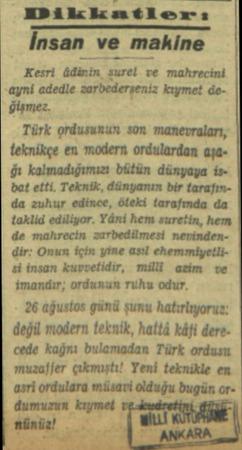 MDikkatlerıiı lnun ve makine Kesri Mi'!ıı ııdel ve mahrecini ayni adedle zarbederseniz kıymet degişmez. Türk ordusunun son