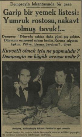 """Dempseyin lokantasında bir gece Garip bir yemek listesi: Yumruk rostosu, nakavt olmuş tavuk!... Dempsey: """"Dünyada aşktan daha"""