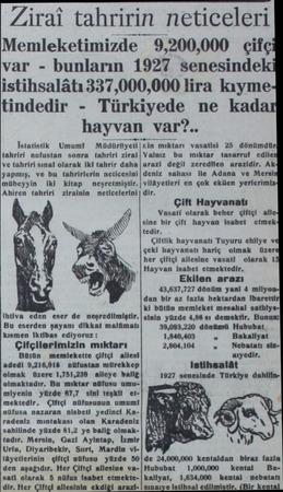 Zirat tahririn neticeleri Memleketimizde var - bunların 1927 senesindek istihsalâtı 337,000,000 lira kayme Türkiyede ne kad