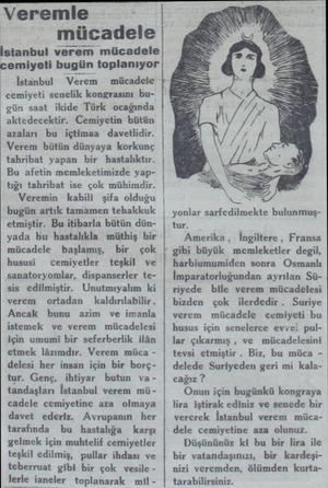 Veremle mücadele tanbul verem mücadele cemiyeti bugunr toplanıyor İstanbul — Verı Verem — mücadele cemiyeti senelik...
