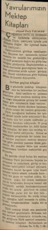 """Yavkularımızın Mektep Kifapları Ahmet Emin YALMAN Ç""""oııaıuz belki de Birdenbi Te farkında olmuyoruz. Bakat Türk cemiyeti..."""