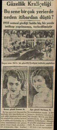 Güzellik Kraliçeliği Bu sene birçok yerlerde neden itibardan düştü? 1933 senesi girdiği halde hiç bir yerde intihap...