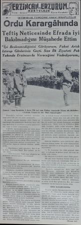 """ıi""""m""""vıi i URUM. KURTULUZU Kaâzım Karabekir İKTİBAS VE TERCÜME HAKKI MAHFUZDUR Ordu Karargâhında Teftiş Neticesinde Efrada"""