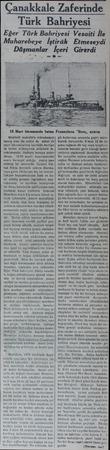 anakkale Zaferinde Türk Bahriyesi Eğer Türk Bahriyesi Vesaiti İle —Muharebeye İştirâk Etmeseydi Düşmqnlar İçeri Girerdi...