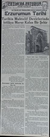 ERDACAKEATORUM. KURTULULU Yazan: General Kâzım Karabekir İK TİBAS VE TERCÜME HAKKI MAHFUZDUR Erzurumun Tarihi Tarihin...