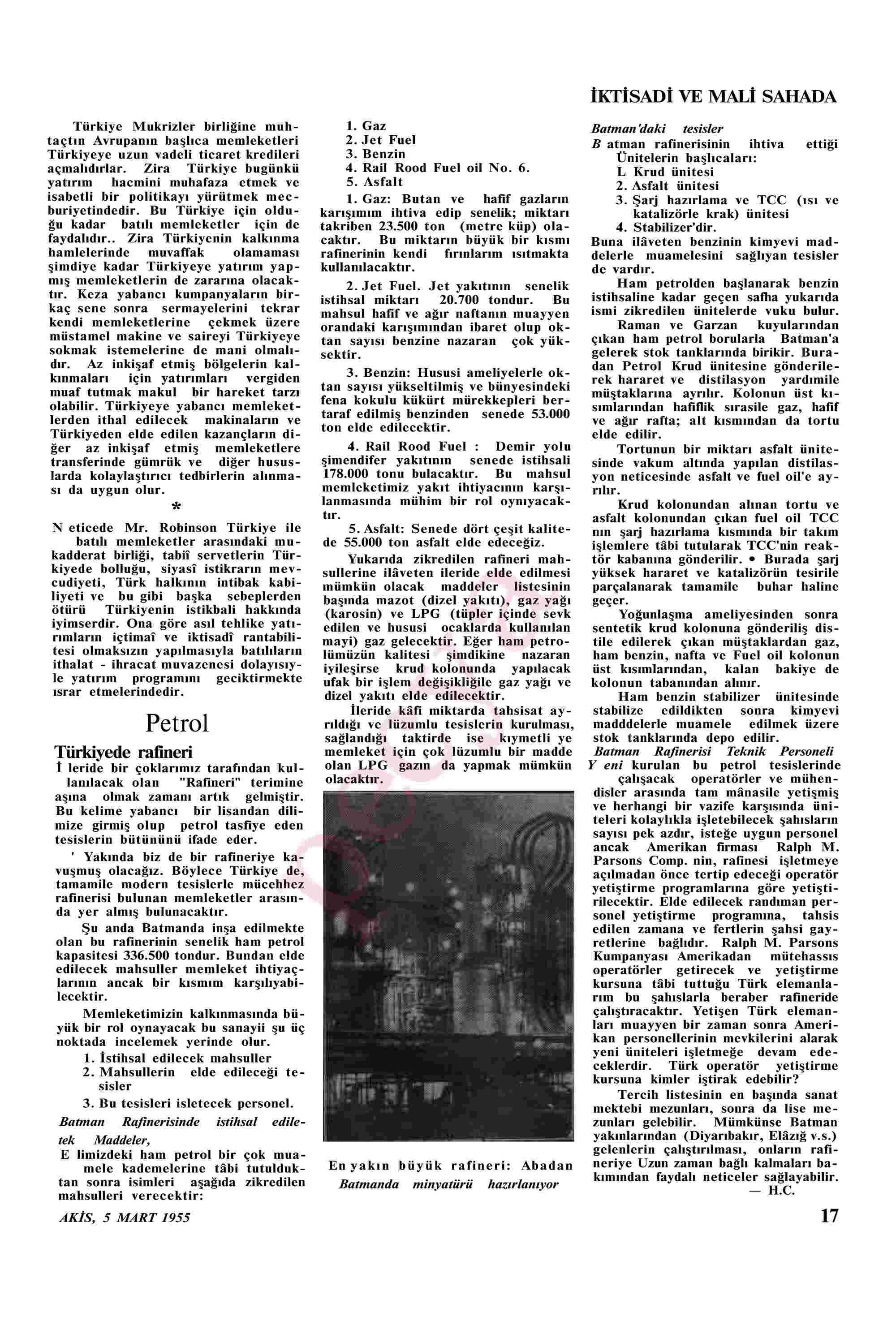 5 Mart 1955 Tarihli Akis Dergisi Sayfa 17