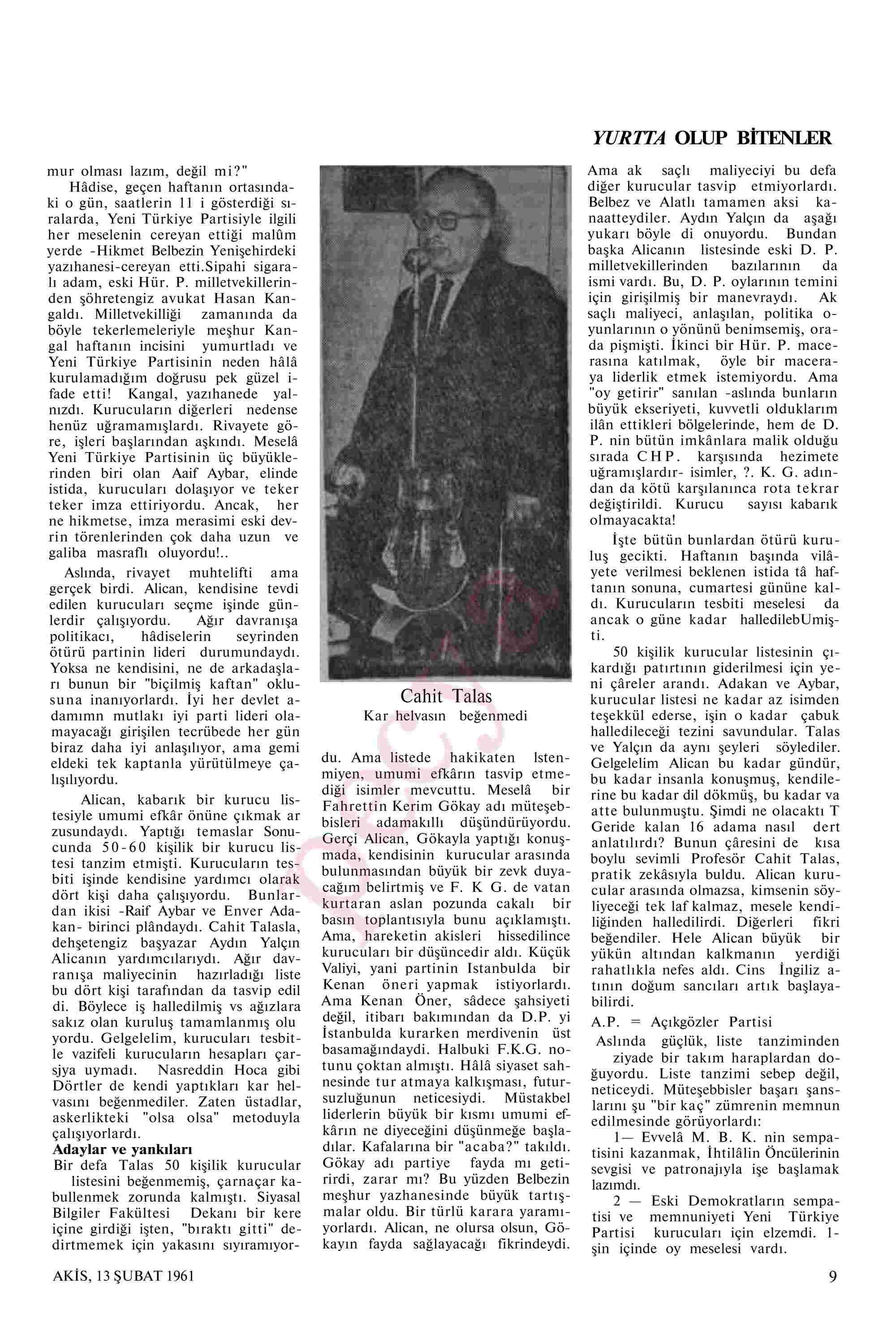 13 Şubat 1961 Tarihli Akis Dergisi Sayfa 9