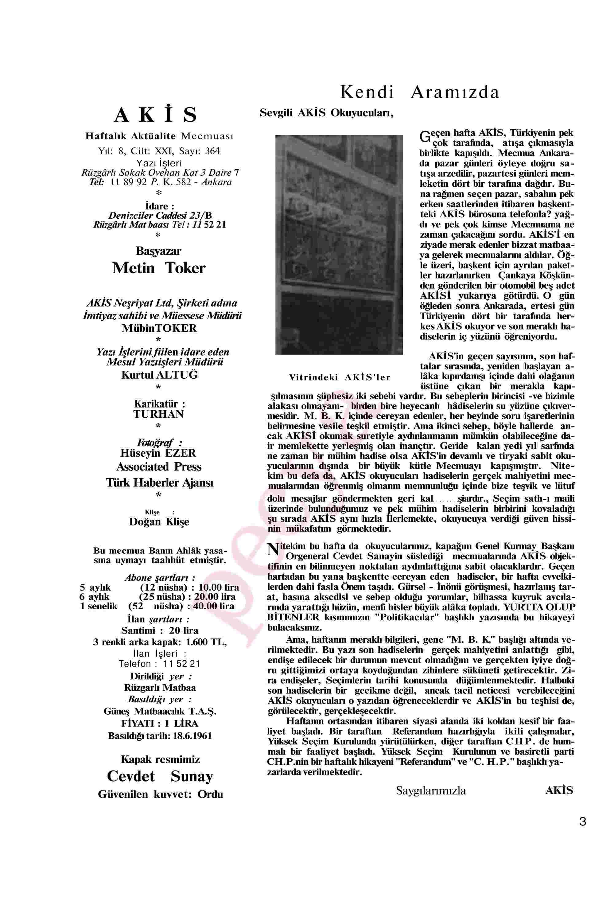 19 Haziran 1961 Tarihli Akis Dergisi Sayfa 3