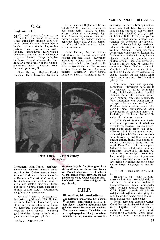 24 Temmuz 1961 Tarihli Akis Dergisi Sayfa 13