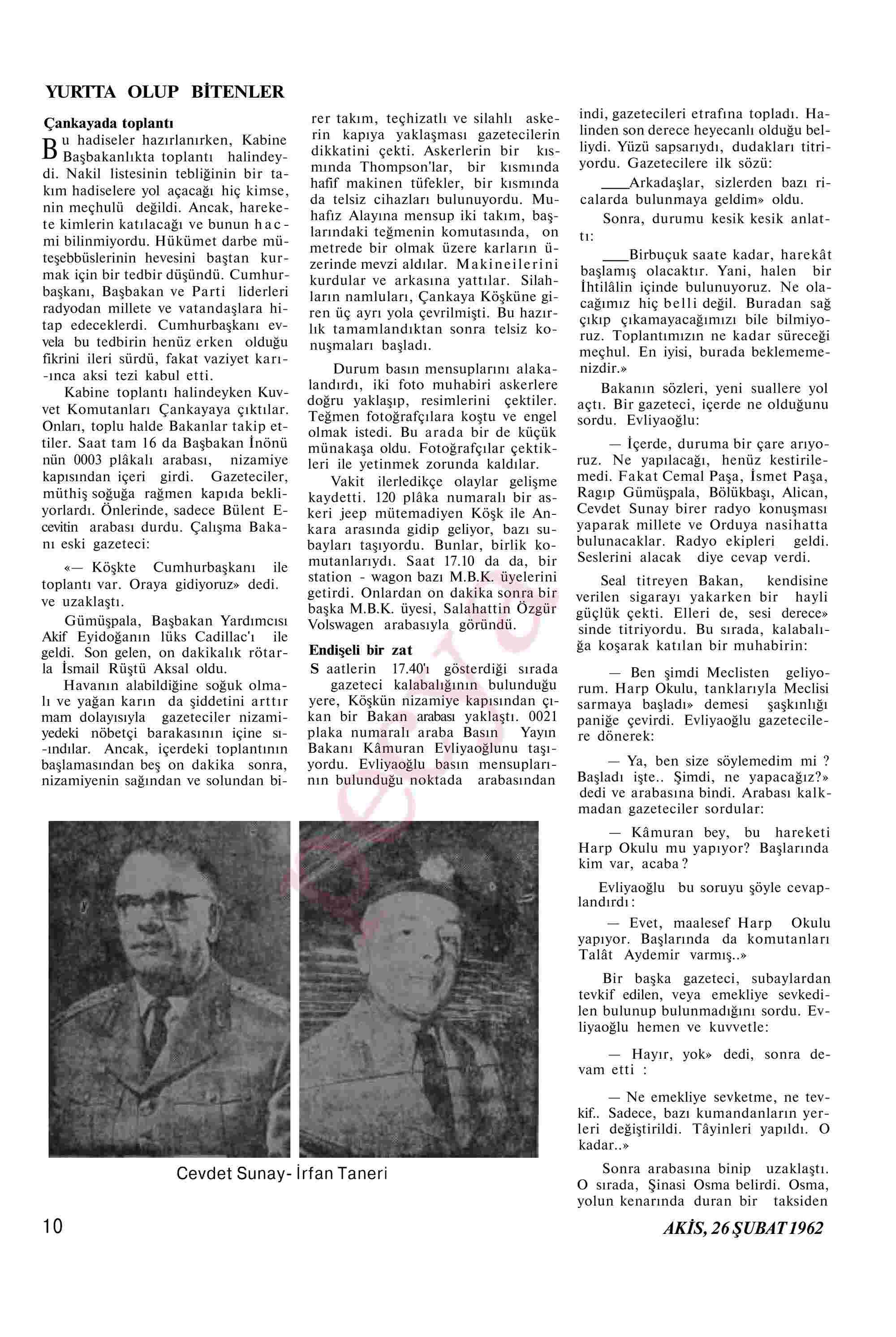 26 Şubat 1962 Tarihli Akis Dergisi Sayfa 10