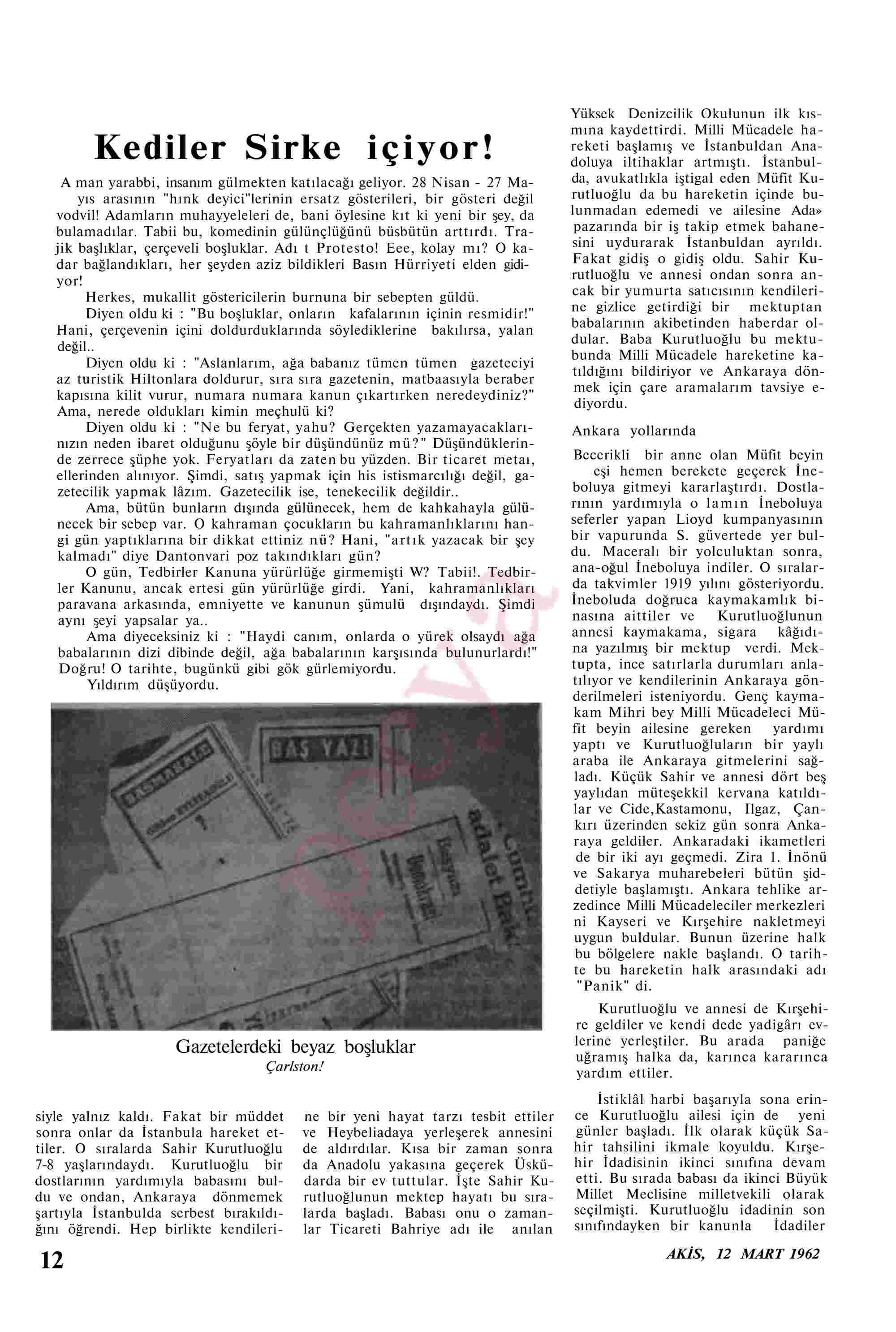 12 Mart 1962 Tarihli Akis Dergisi Sayfa 12