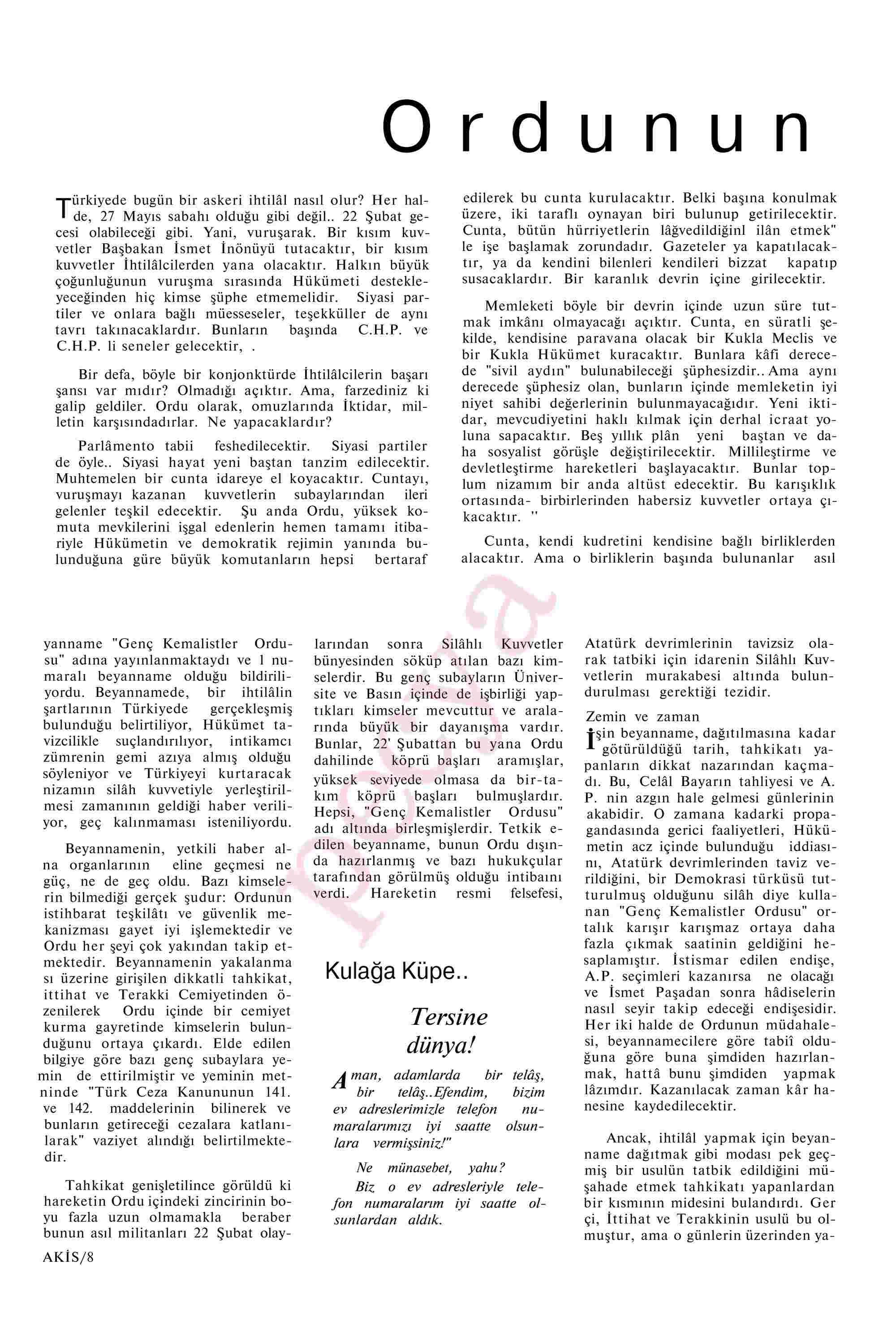 27 Nisan 1963 Tarihli Akis Dergisi Sayfa 8