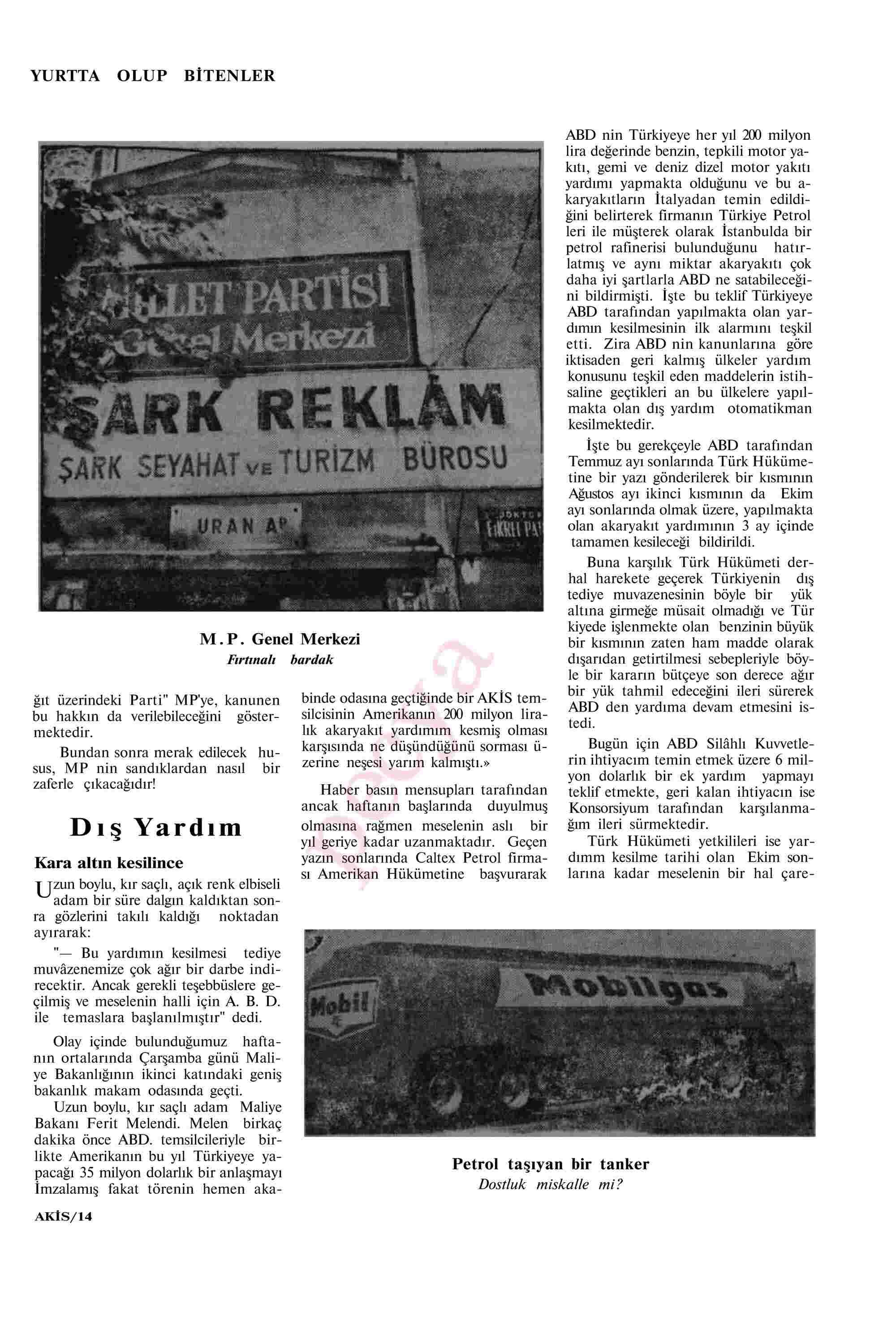 14 Eylül 1963 Tarihli Akis Dergisi Sayfa 14