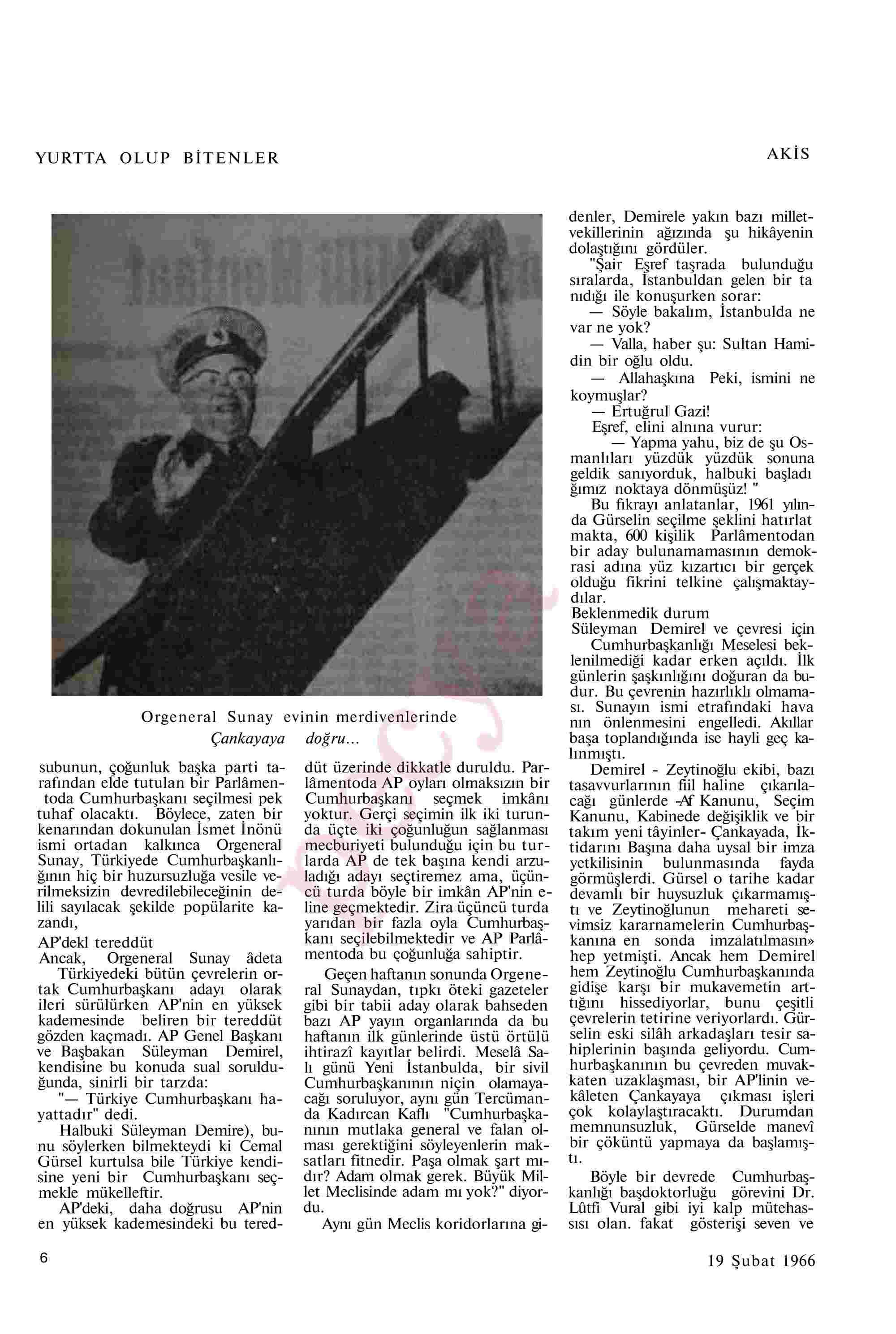 19 Şubat 1966 Tarihli Akis Dergisi Sayfa 6