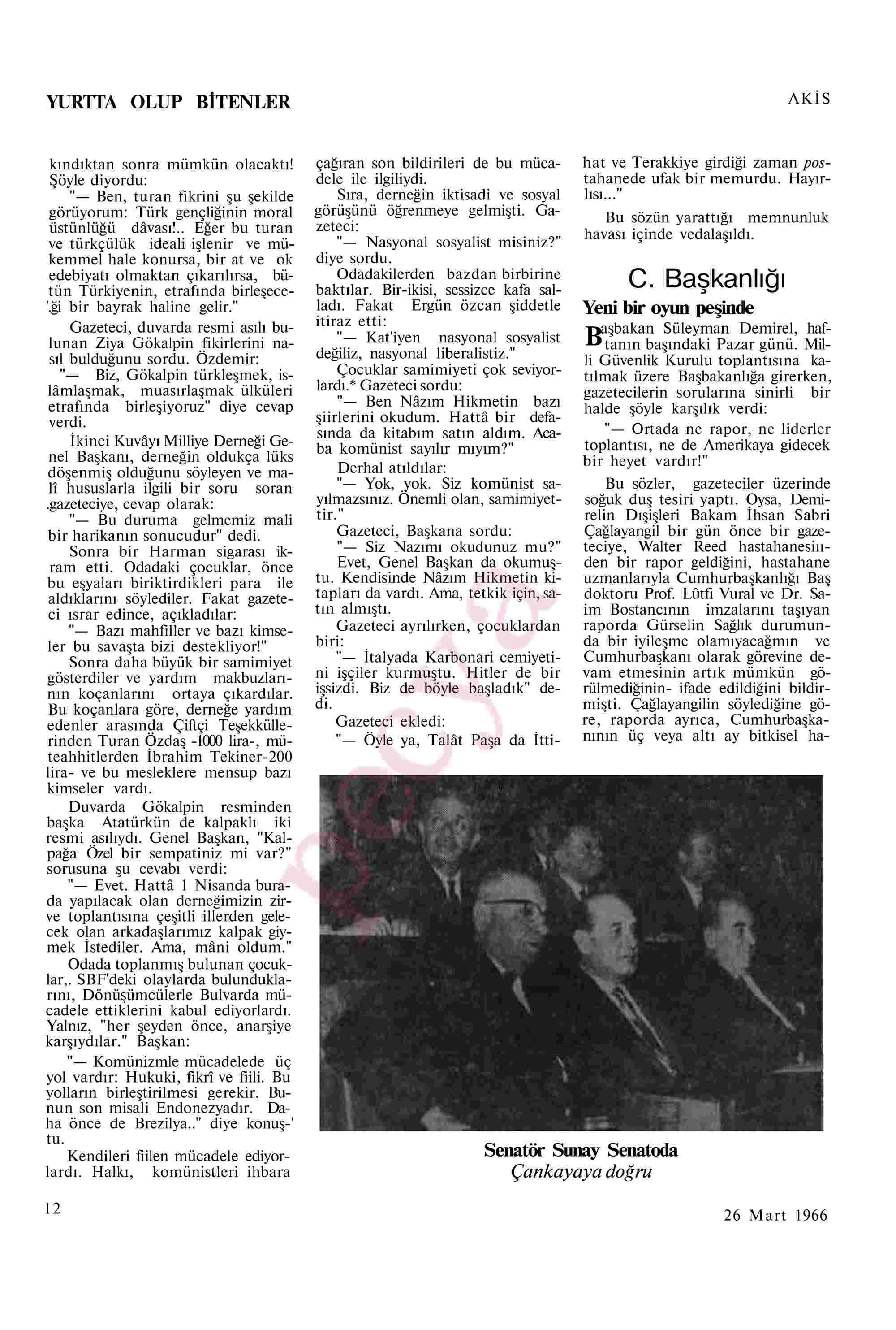26 Mart 1966 tarihli Akis Dergisi Sayfa 12