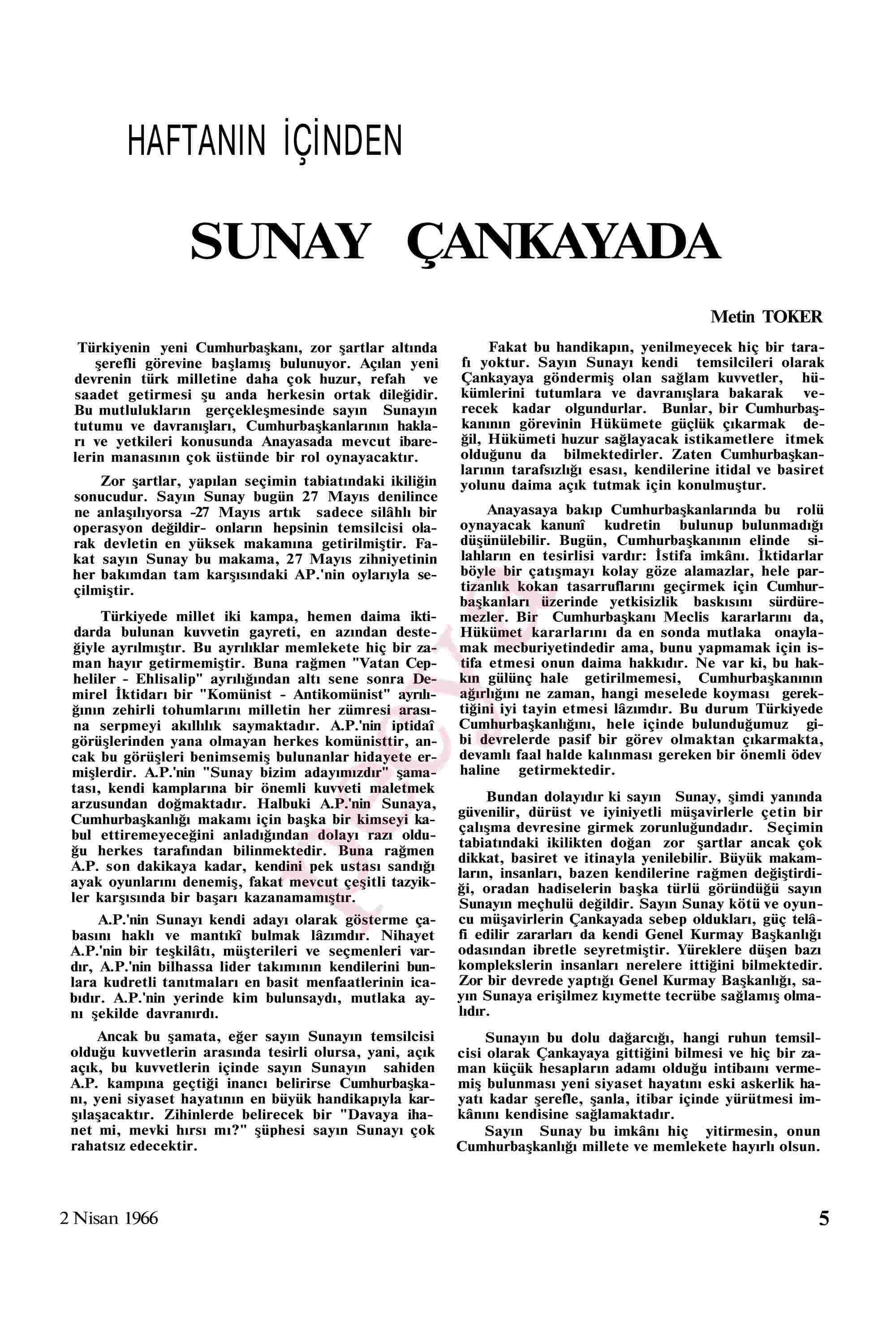 2 Nisan 1966 Tarihli Akis Dergisi Sayfa 5