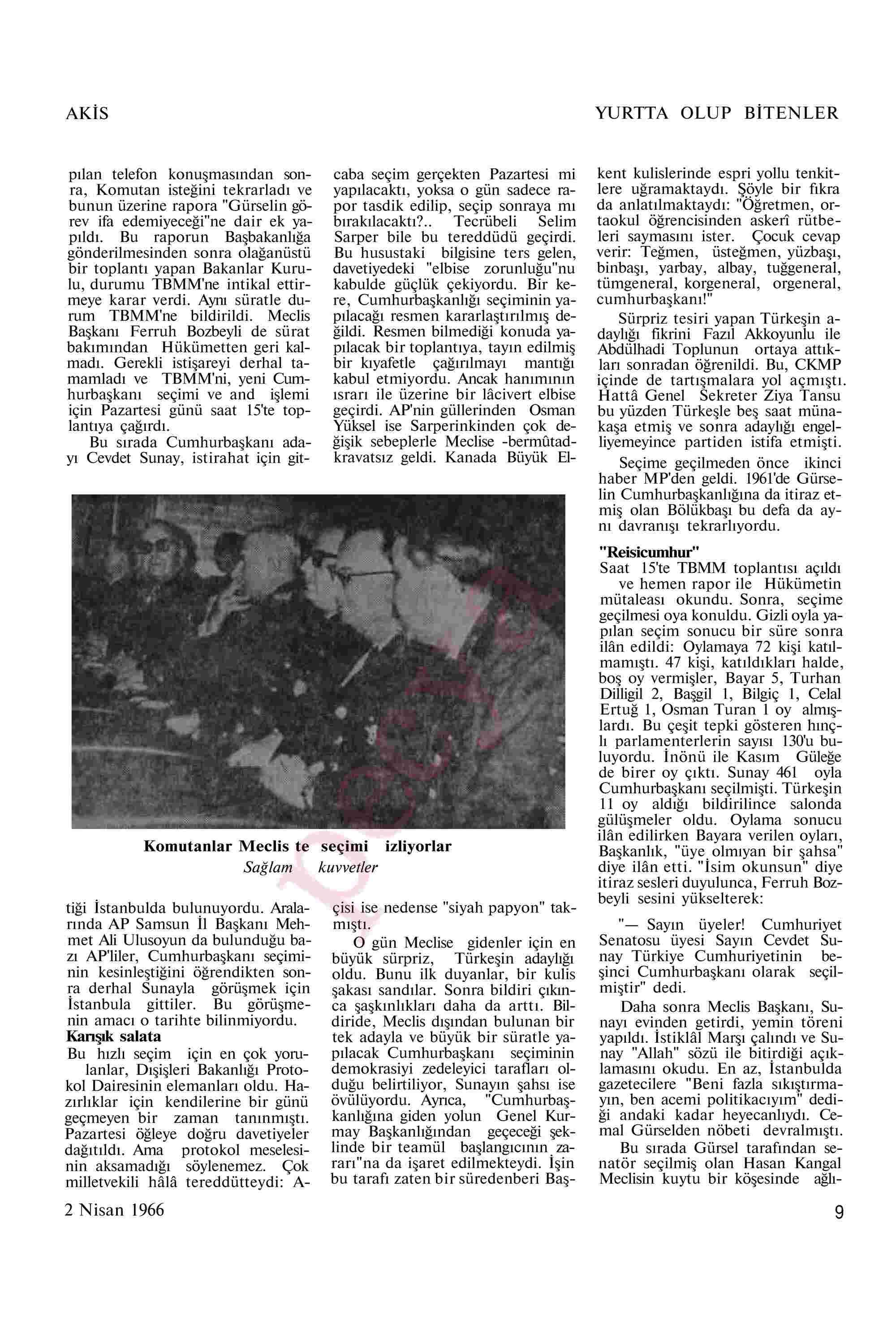 2 Nisan 1966 Tarihli Akis Dergisi Sayfa 9