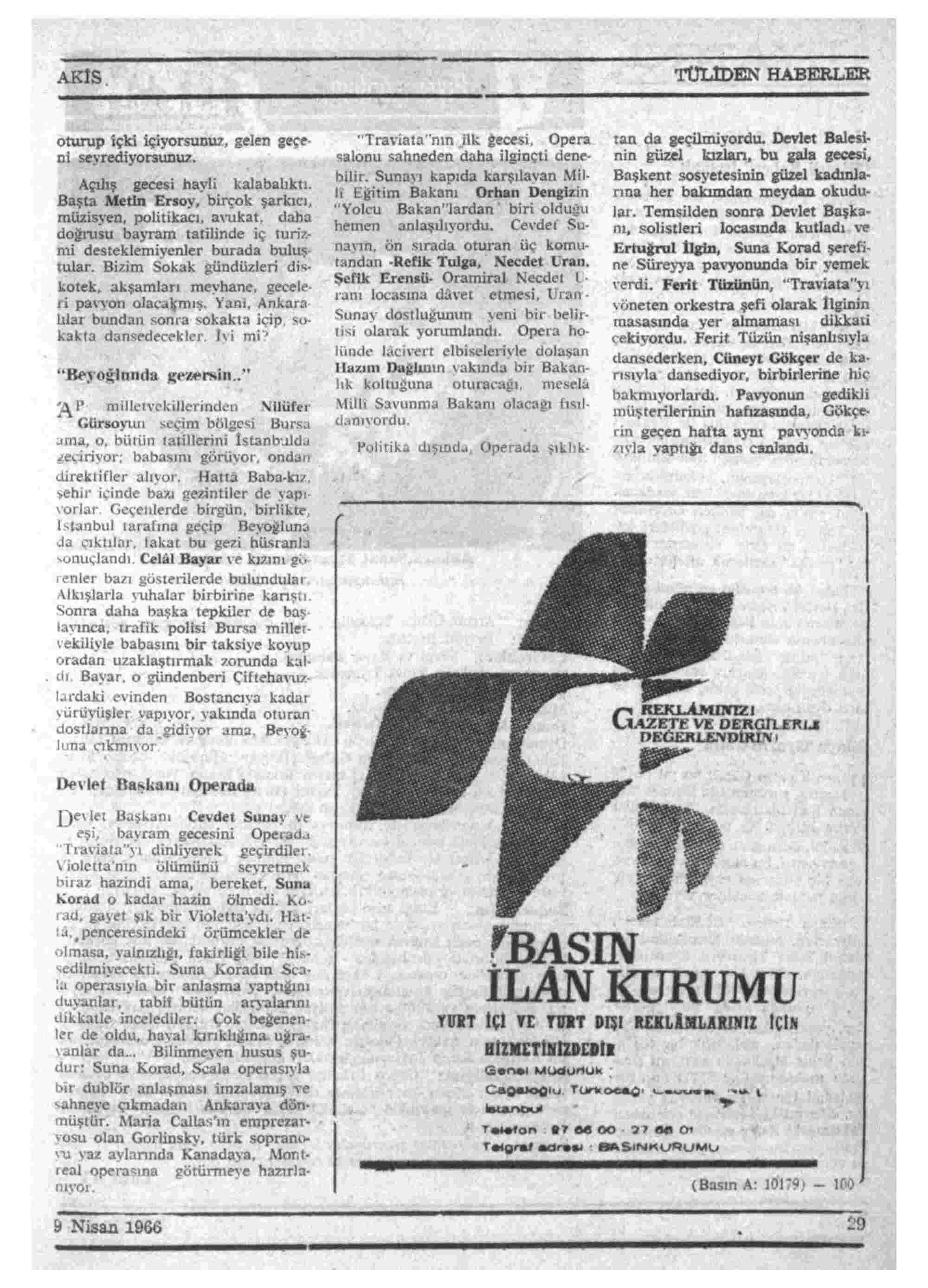 9 Nisan 1966 Tarihli Akis Dergisi Sayfa 29