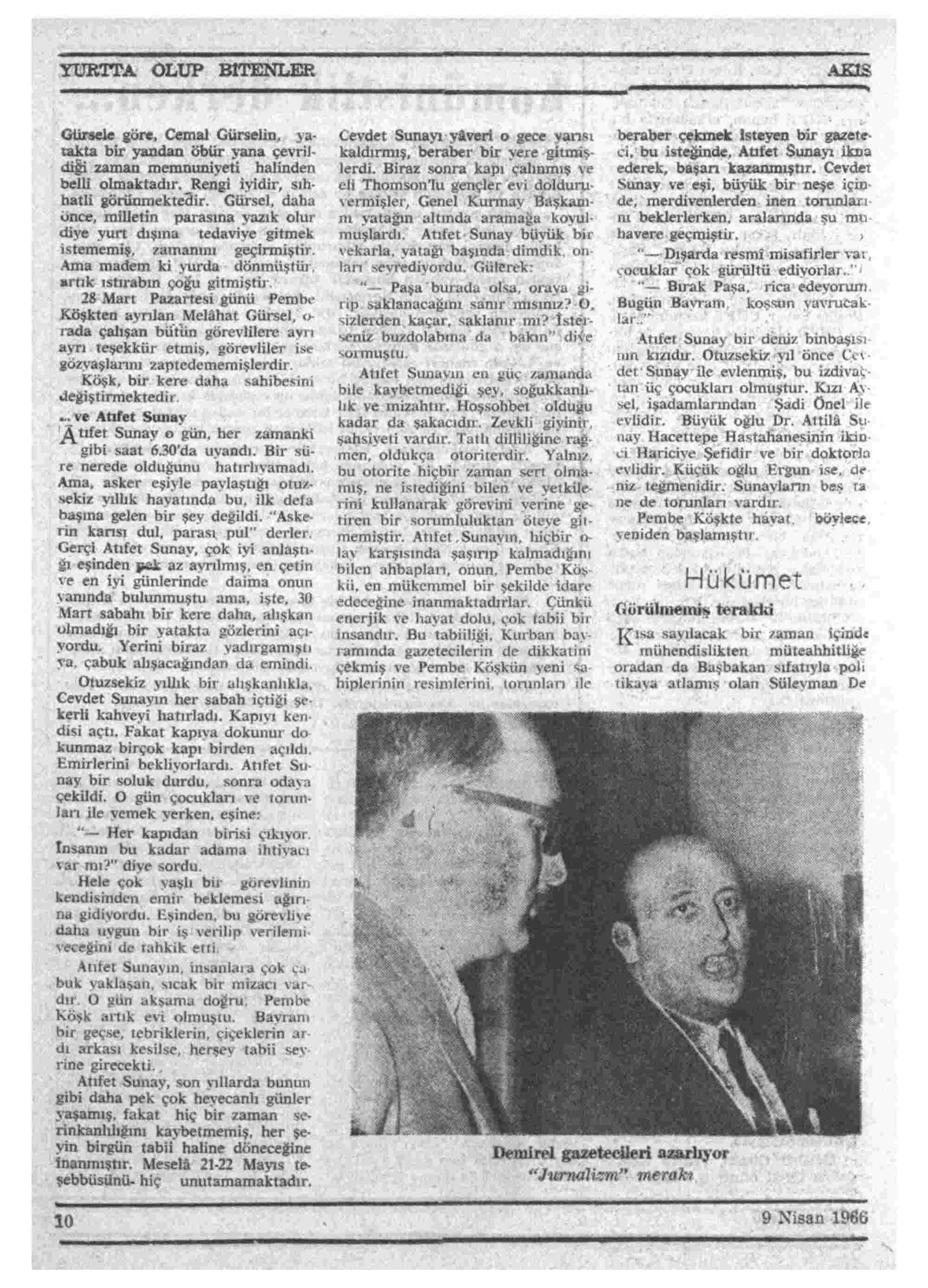 9 Nisan 1966 Tarihli Akis Dergisi Sayfa 10