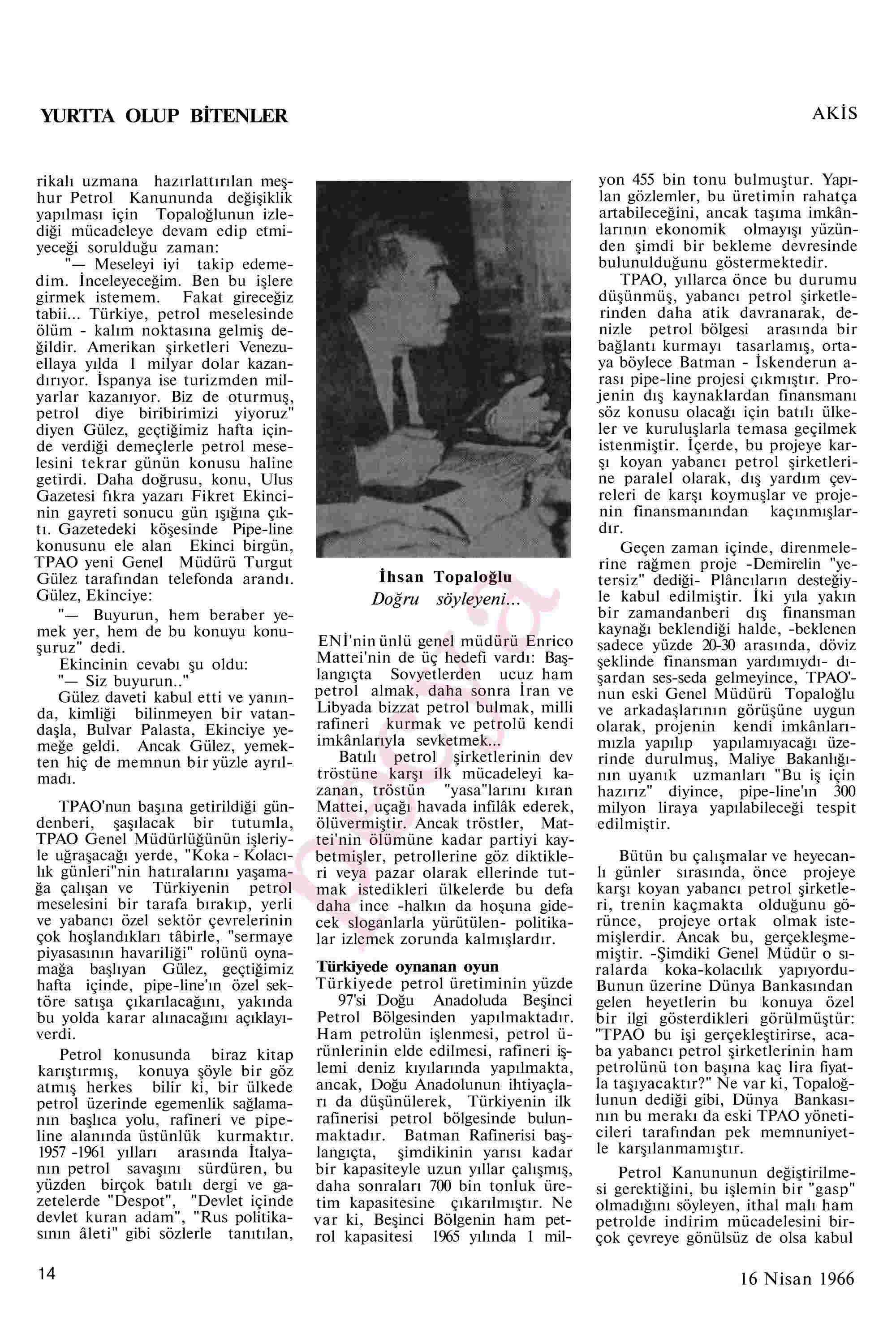 16 Nisan 1966 Tarihli Akis Dergisi Sayfa 14