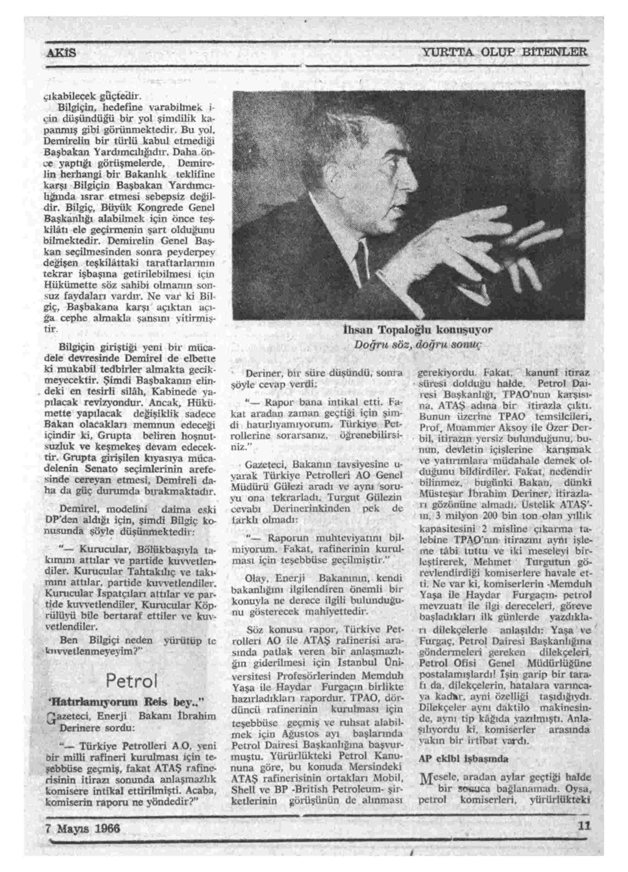 7 Mayıs 1966 Tarihli Akis Dergisi Sayfa 11
