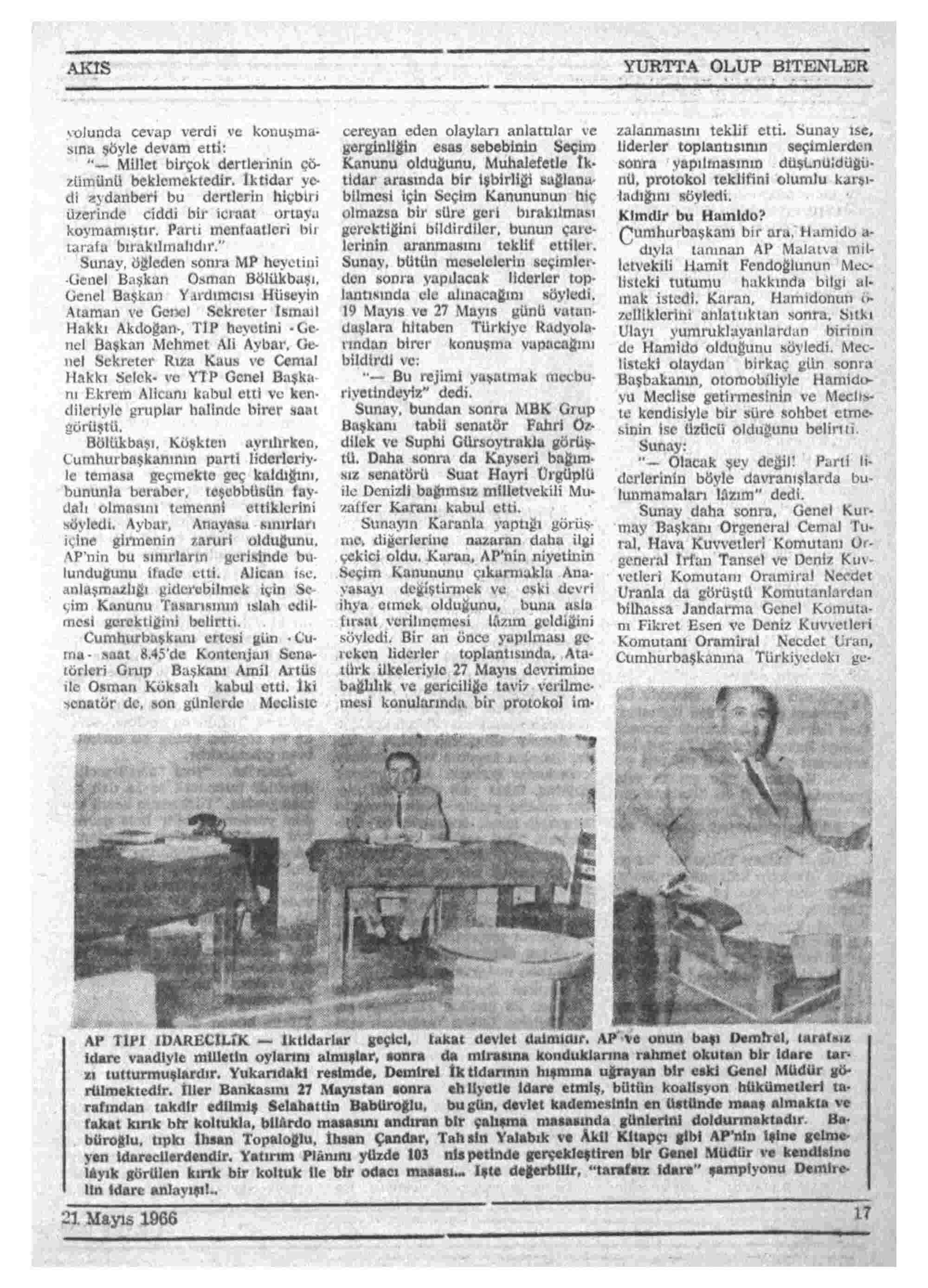 21 Mayıs 1966 Tarihli Akis Dergisi Sayfa 17