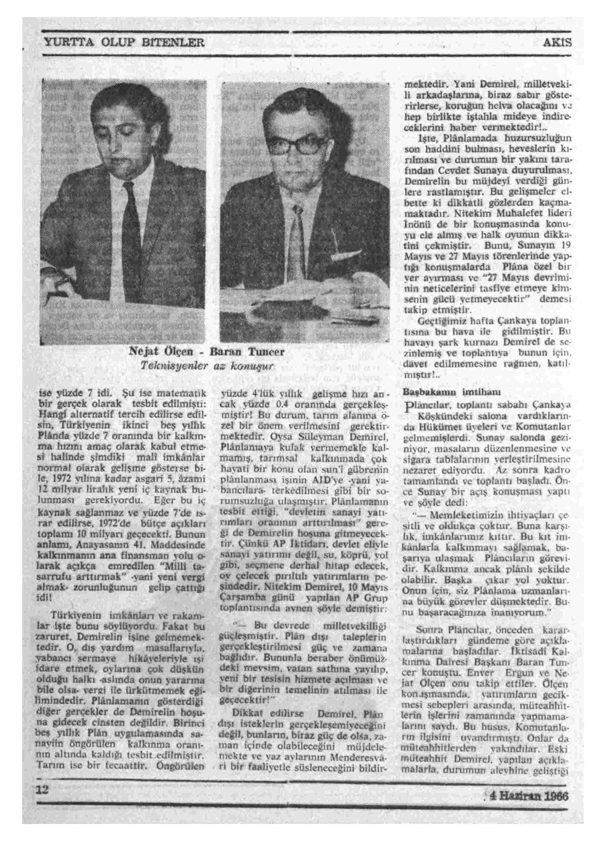 4 Haziran 1966 Tarihli Akis Dergisi Sayfa 12