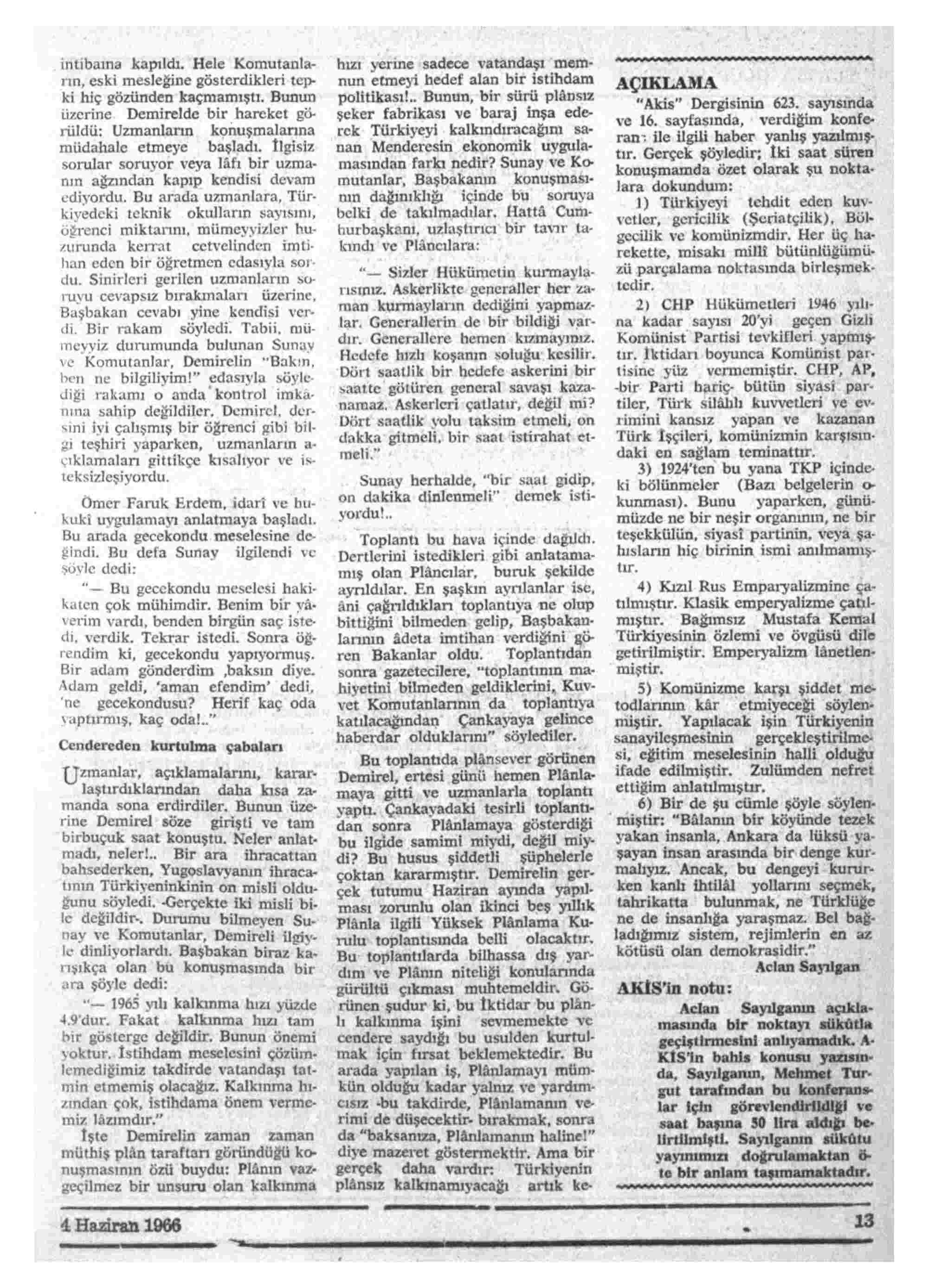 4 Haziran 1966 Tarihli Akis Dergisi Sayfa 13