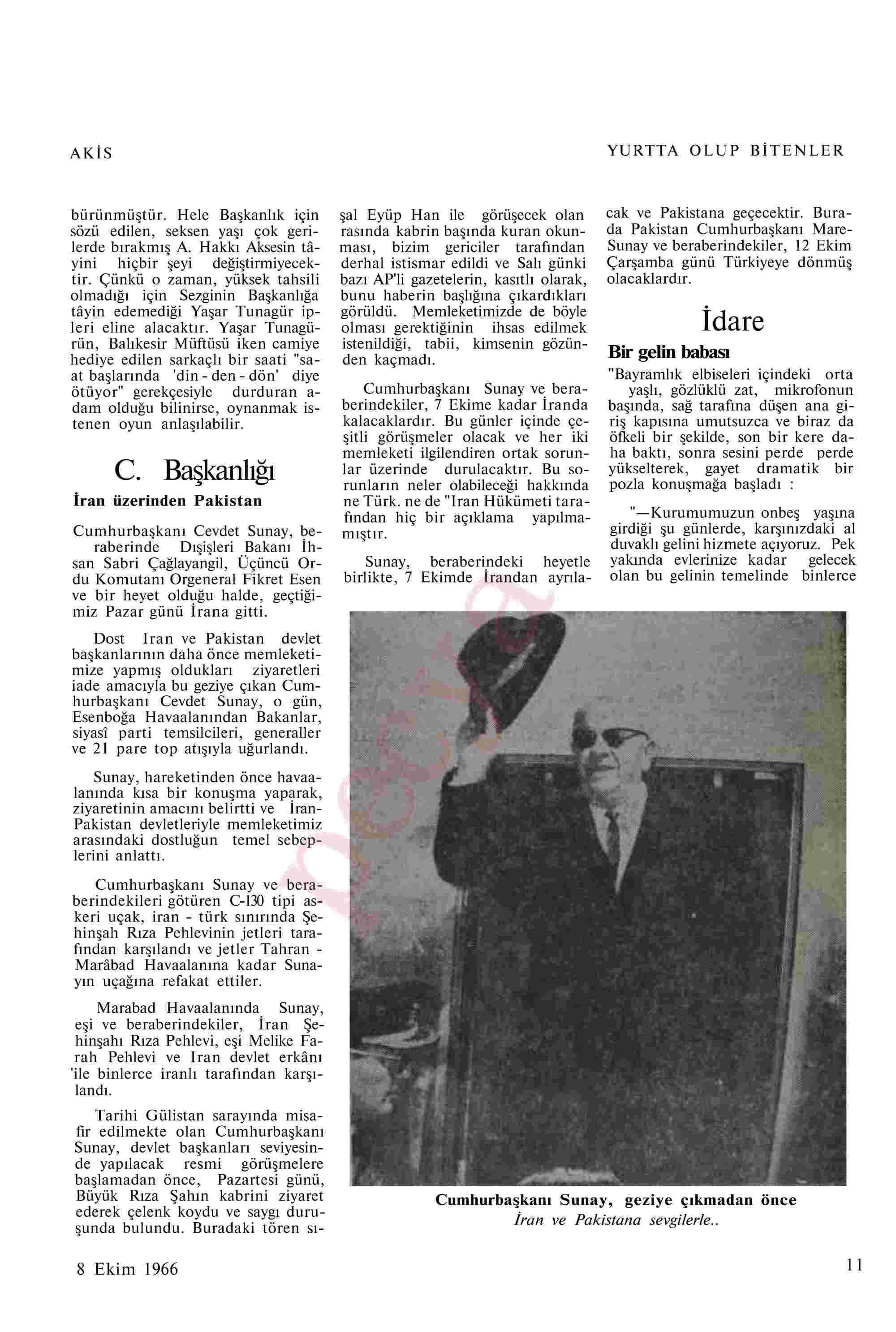 8 Ekim 1966 Tarihli Akis Dergisi Sayfa 11