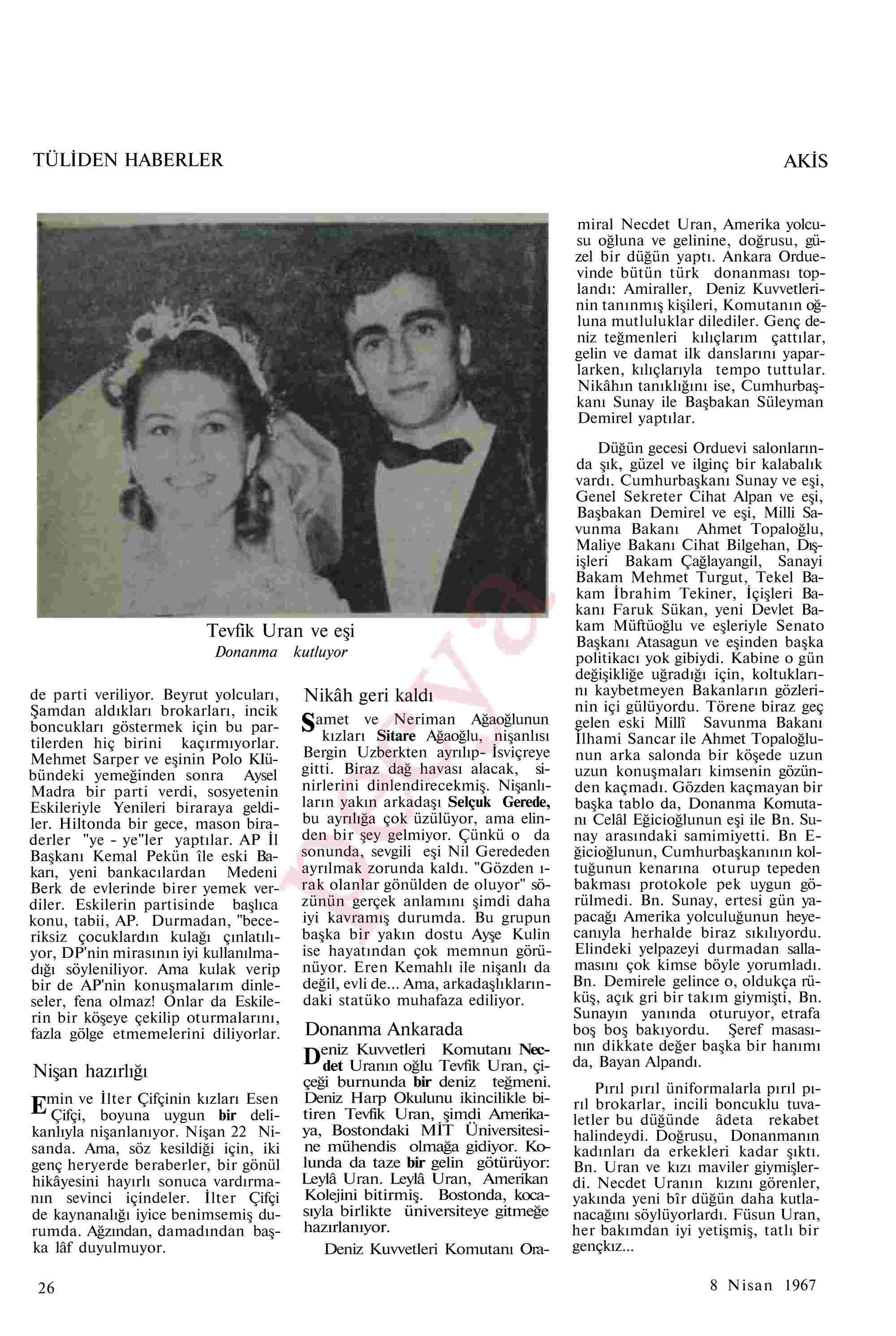 8 Nisan 1967 Tarihli Akis Dergisi Sayfa 26
