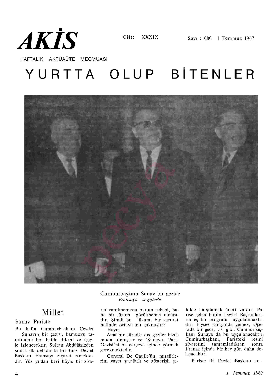 1 Temmuz 1967 Tarihli Akis Dergisi Sayfa 4