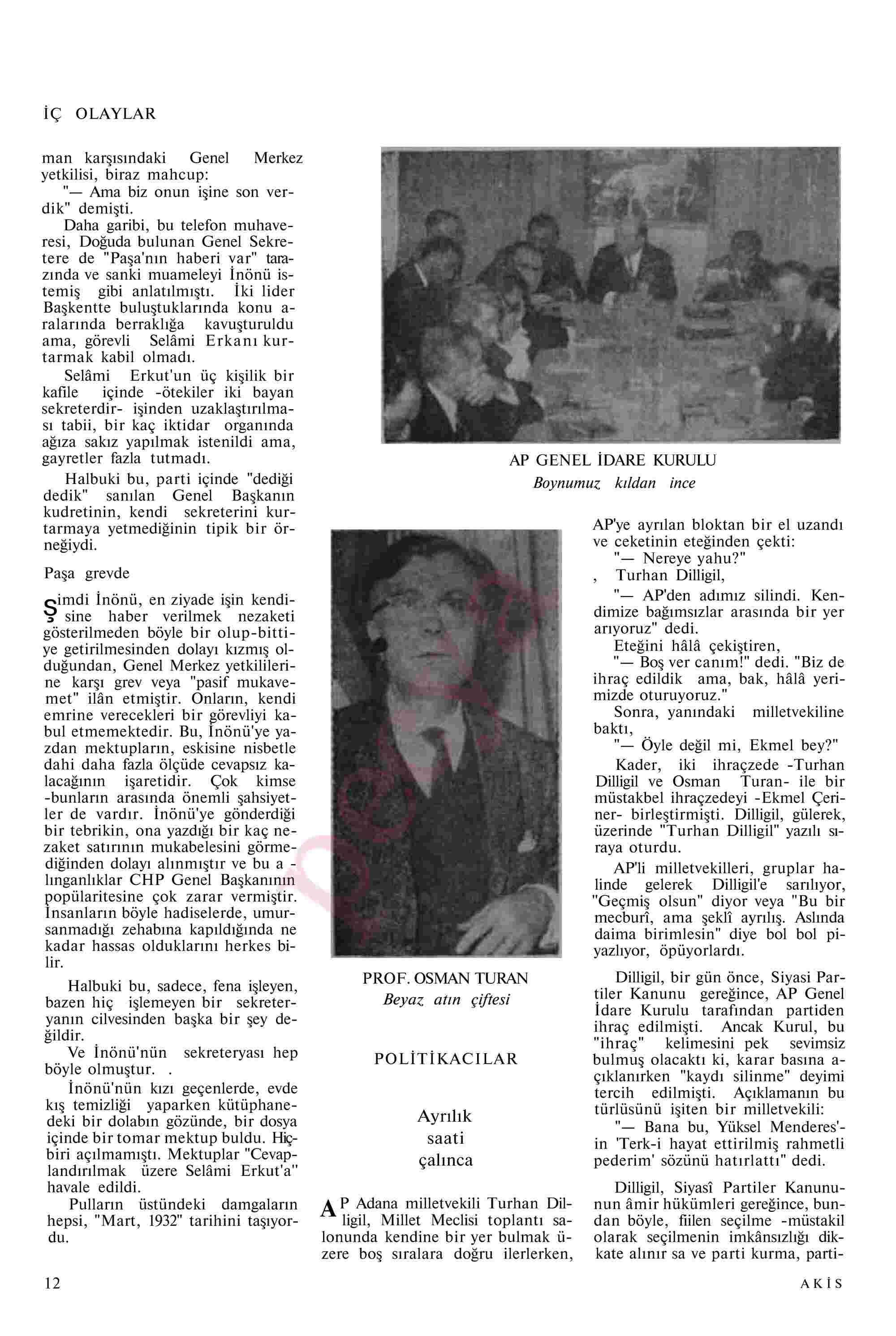 6 Kasım 1967 Tarihli Akis Dergisi Sayfa 12