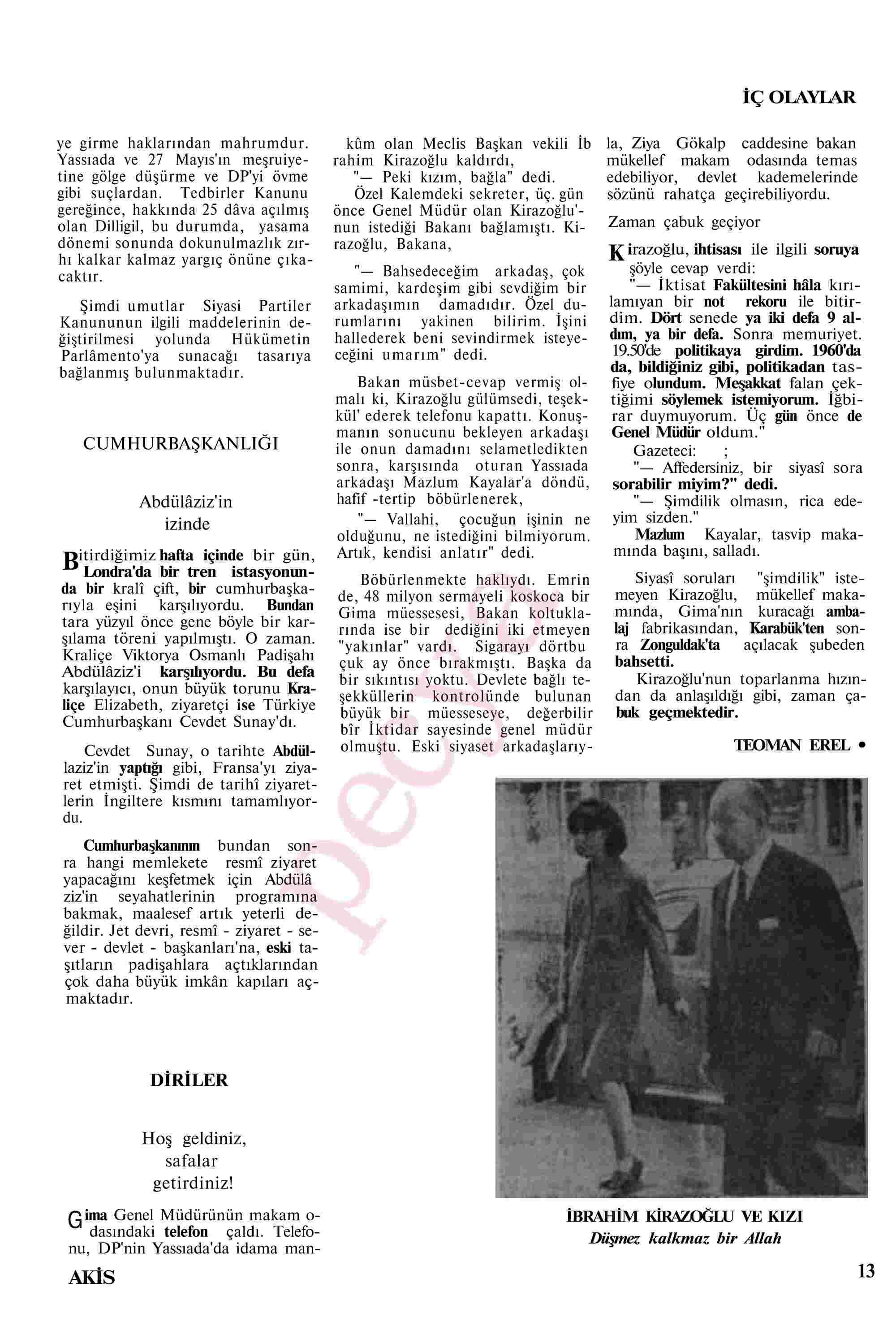 November 6, 1967 Tarihli Akis Dergisi Sayfa 13