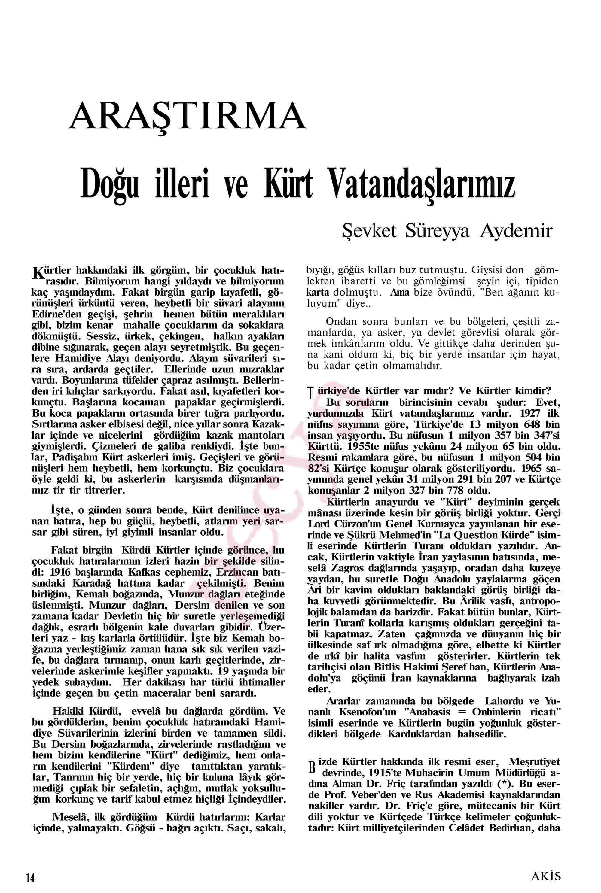6 Kasım 1967 Tarihli Akis Dergisi Sayfa 14