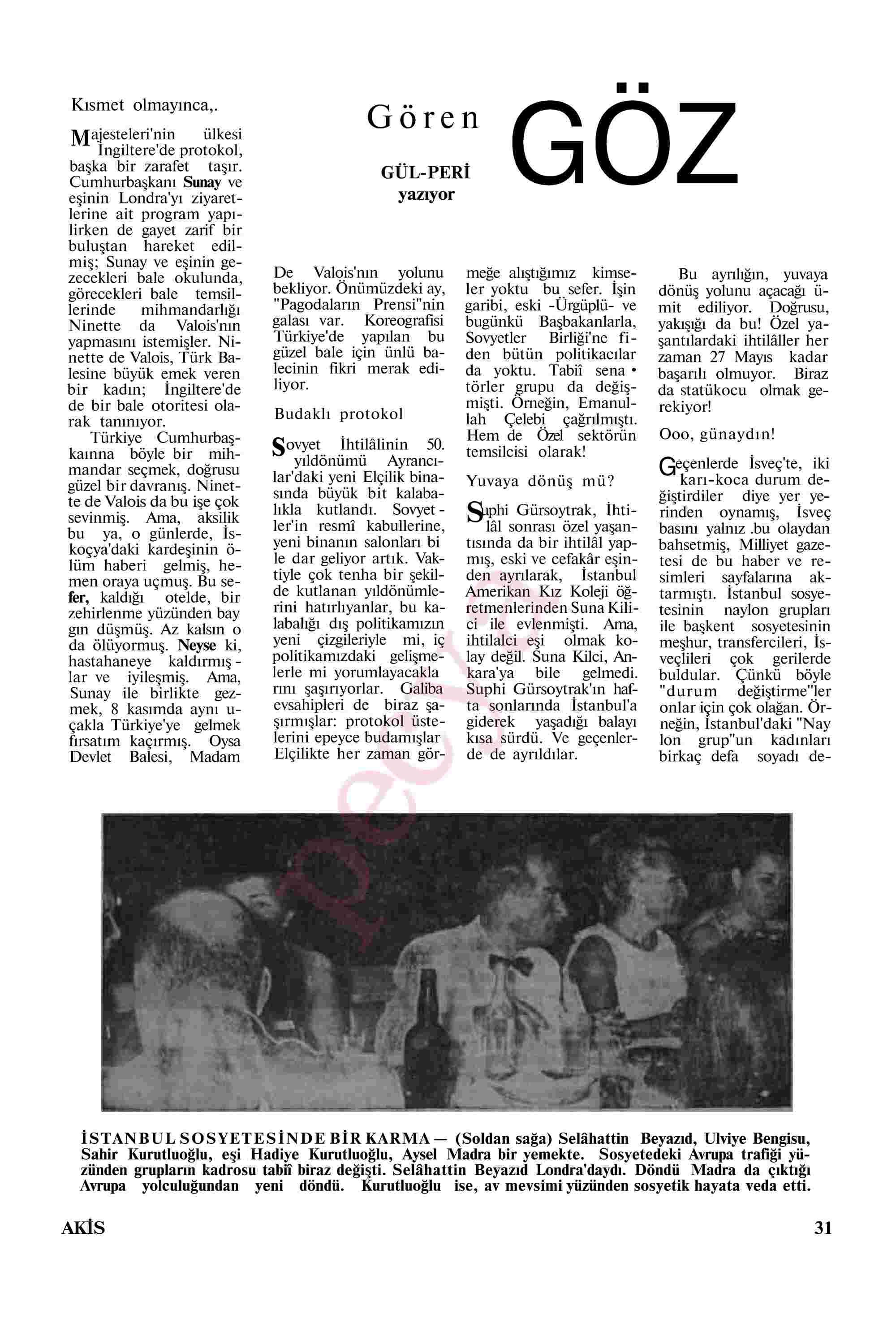 20 Kasım 1967 Tarihli Akis Dergisi Sayfa 33