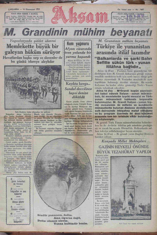 16 Ocak 1929 Tarihli Akşam Gazetesi Sayfa 1