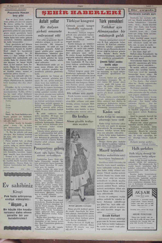 27 Ekim 1929 Tarihli Akşam Gazetesi Sayfa 3