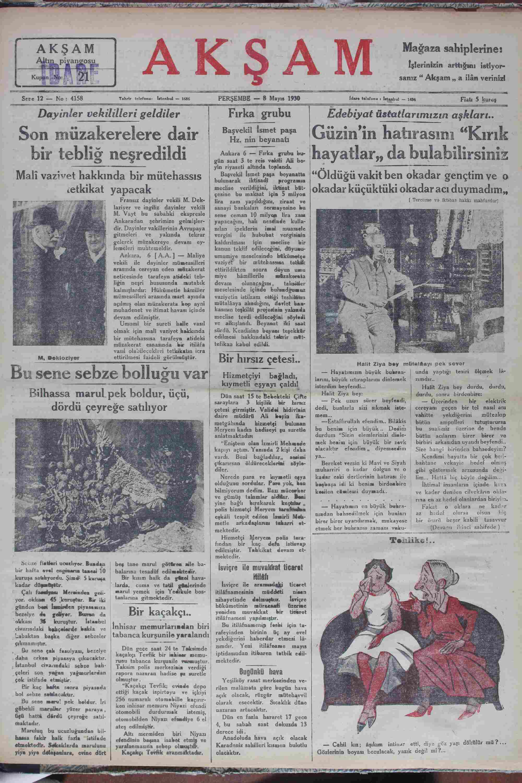 8 Mayıs 1930 tarihli Akşam Gazetesi Sayfa 1