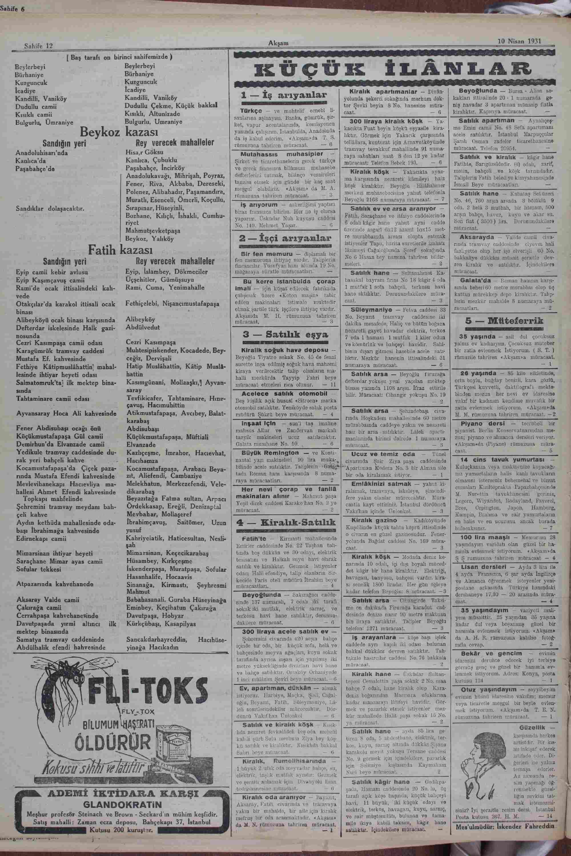 10 Nisan 1931 Tarihli Akşam Dergisi Sayfa 12