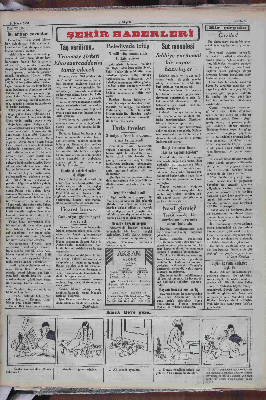24 Mayıs 1931 Tarihli Akşam Gazetesi Sayfa 3