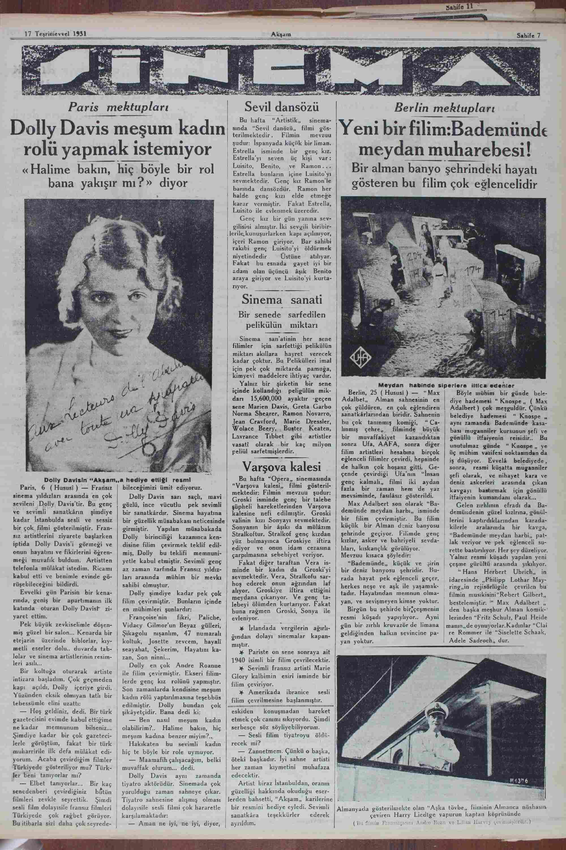 17 Ekim 1931 Tarihli Akşam Gazetesi Sayfa 7