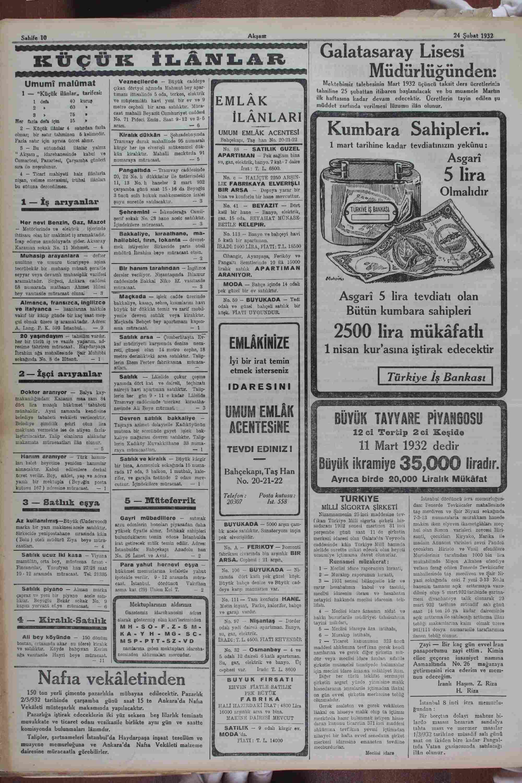 24 Şubat 1932 Tarihli Akşam Gazetesi Sayfa 10