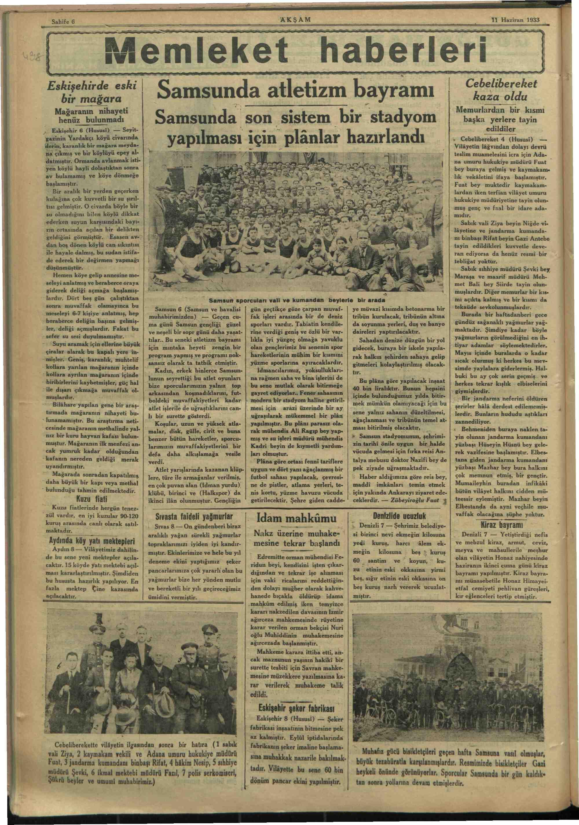 11 Haziran 1933 tarihli Akşam Gazetesi Sayfa 6