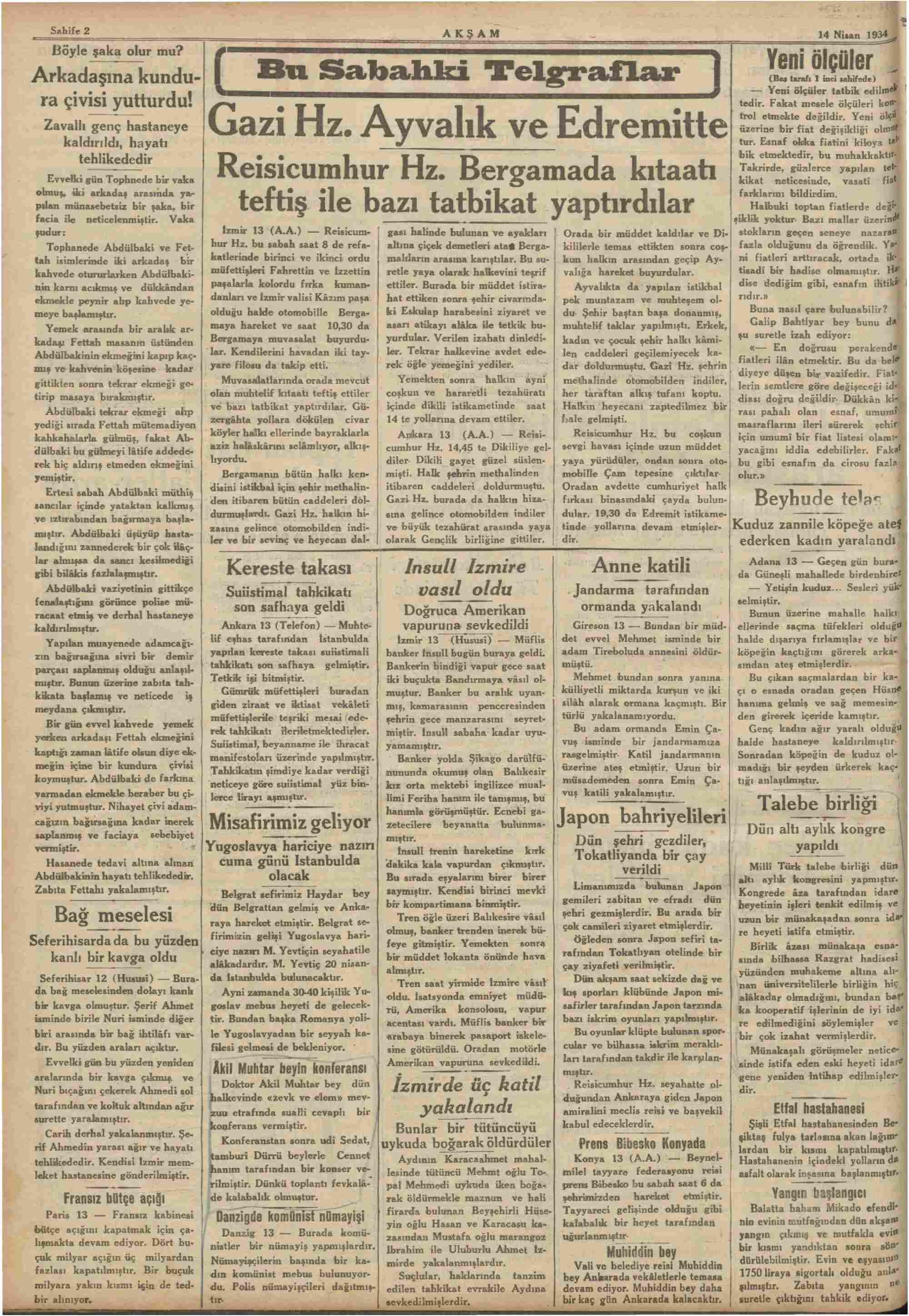 14 Nisan 1934 Tarihli Akşam Dergisi Sayfa 2